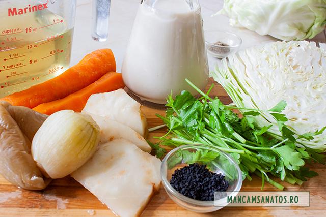 ingredinete pentru supa crema, cu varza cruda, lapte de soia si chimen negru