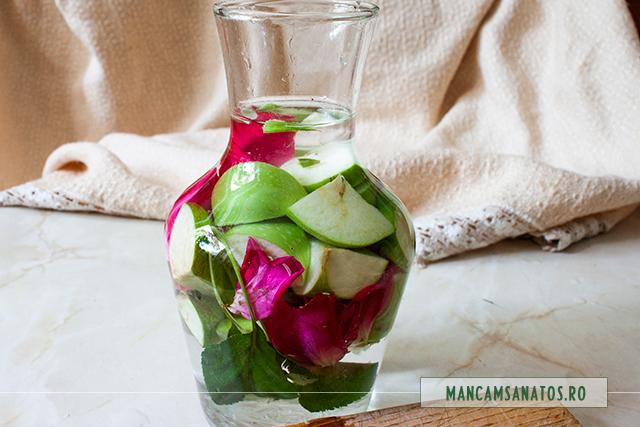 apa enzimatica si probiotica, cu mere verzi si petale de trandafir, lasata la rece