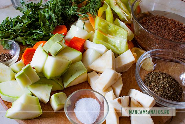 legume, verdeturi si mirodenii, pentru briose picante, cu legume, lapte de soia si verdeturi