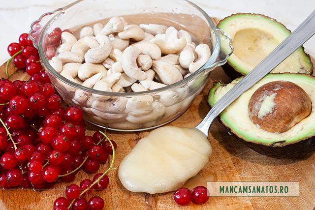 ingrediente pentru crema de tort raw vegan, cu coacaze rosii