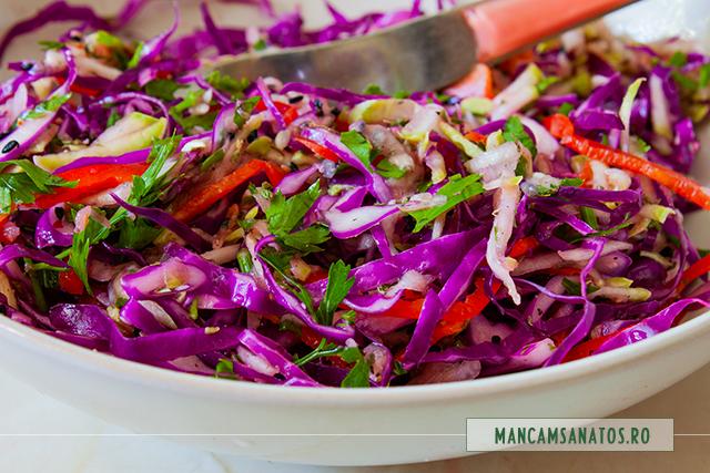 salata de varza rosie, ardei gras si dovlecel, asezonata antioxidant, antibiotic si afrodisiac