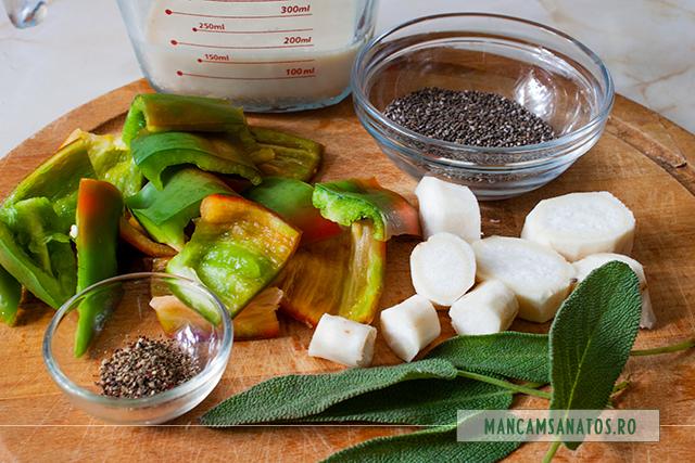 ingrediente pentru budinca raw vegana, cu salvie verde si piper