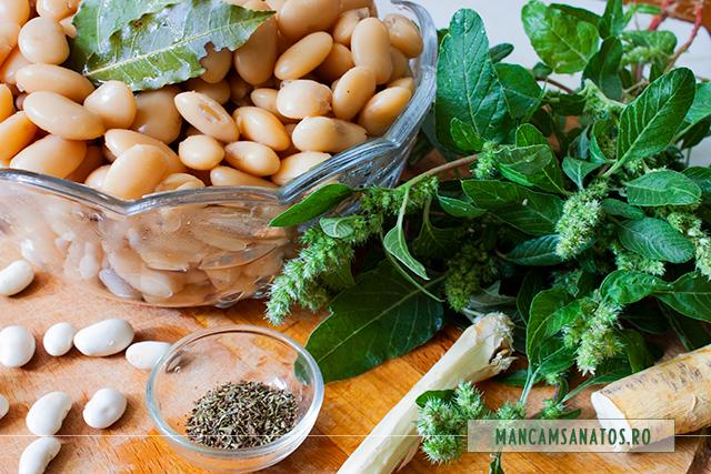 fasole boabe fiarta si alte ingrediente, pentru fasole boabe, cu hrean, cimbru si stir
