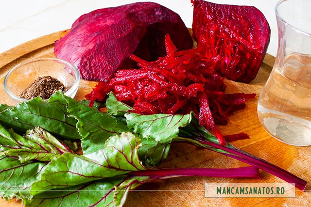 ingrediente pentru salata de sfecla cu frunze, asezonata picant cu ienibahar si otet balsamic