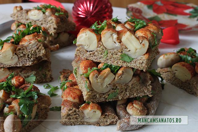 ciuperci,  in aluat integral cu morcovi si mirodenii, feliat