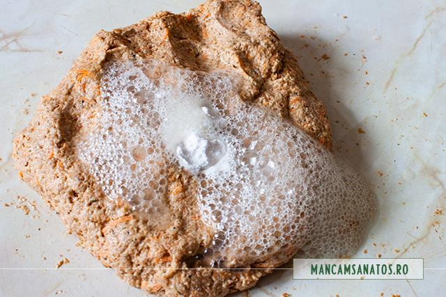aluat cu bicarbonat si lamaie, pentru ciuperci,  in aluat integral cu morcovi si mirodenii