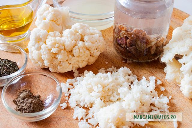 ingrediente pentru salata cu conopida cruda, stafide si dressing aromat