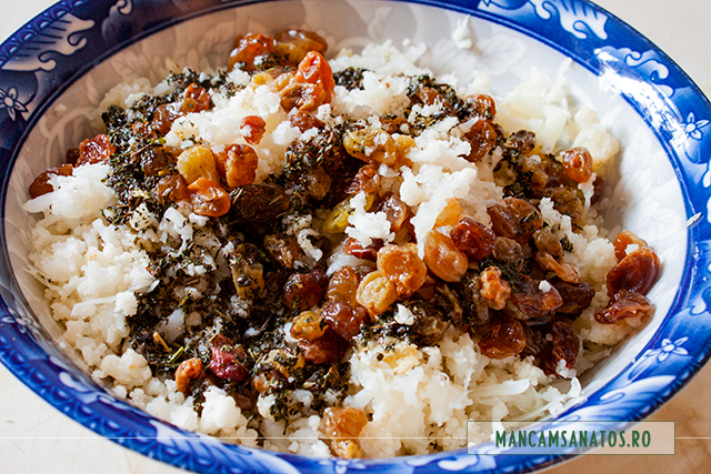 dressing aromat si stafide, peste conopida, pentru salata