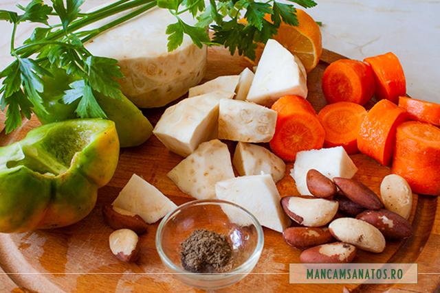ingrediente pentru supa crema de telina, cu nuci braziliene