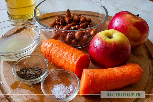ingrediente pentru salata de morcov, mere si migdale, cu dressing de miere si lamaie