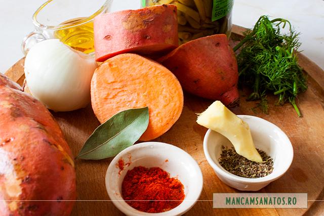 ingrediente pentru fasole verde, cu cartofi dulci, cimbru si ghimbir