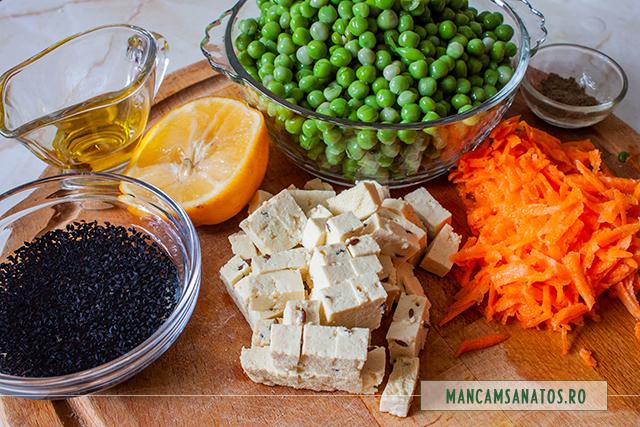 ingrediente pentru meniu vegan proteic, cu leguminoase si seminte