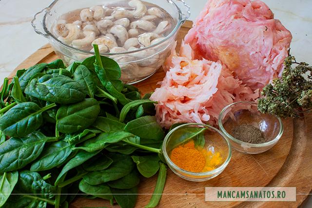 ingrediente pentru salata raw vegana de varza murata cu spanac si caju