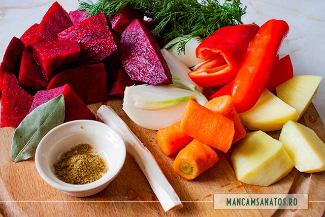ingrediente pentru supa crema de sfecla rosie, cu chimion si hrean