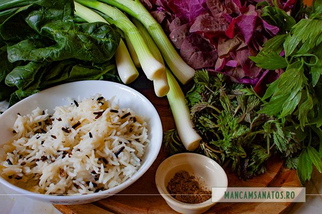 ingrediente pentru ciorba cu verdeturi de primavara, orez basmati si salbatic