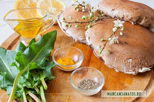ingrediente pentru ciuperci la gratar, cu stevie si flori de corcodus