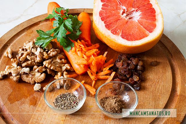 ingrediente pentru salata raw vegana de morcovi, cu nuci si stafide