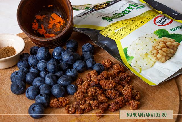 ingrediente pentru afine, cu dude dezcativate enzimatic si mirodenii