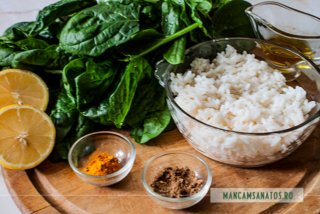 ingrediente pentru orez cu spanac si mirodenii