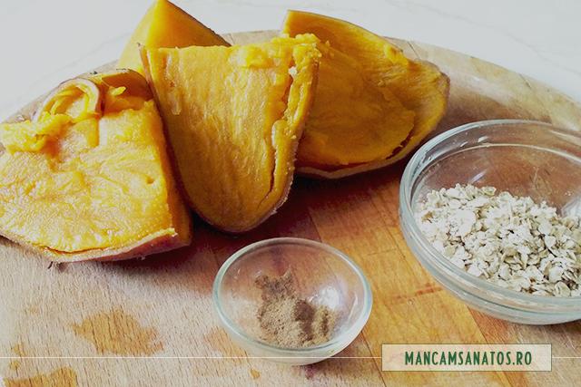 ingrediente pentru terci de cartofi dulci cu fulgi de ovaz si scortisoara