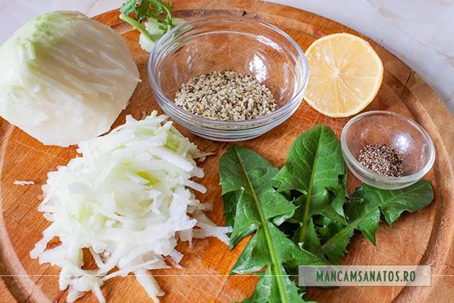 ingrediente pentru salata de gulie, cu seminte de canepa si frunze de papadie