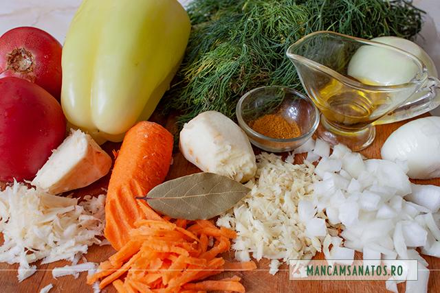 ingrediente pentru mancare de marar, cu radacinoase si curry
