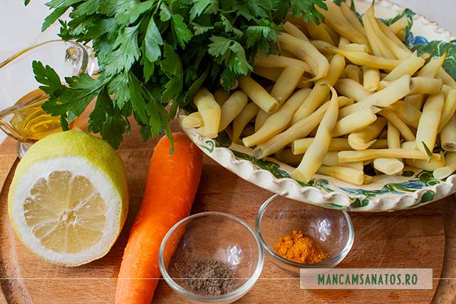 ingrediente pentru salata de fasole pastai, cu morcov, patrunjel si mirodenii
