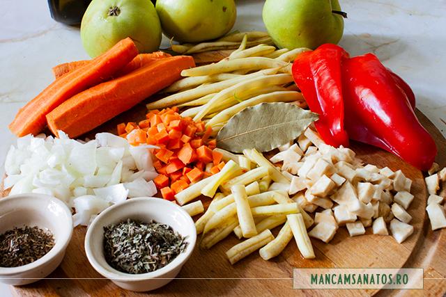 ingrediente pentru ciorba de fasole pastai si mere verzi, cu tarhon