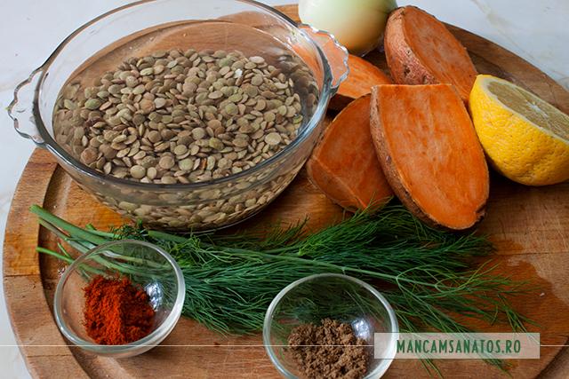 ingrediente pentru linte verde cu cartof dulce si lamaie