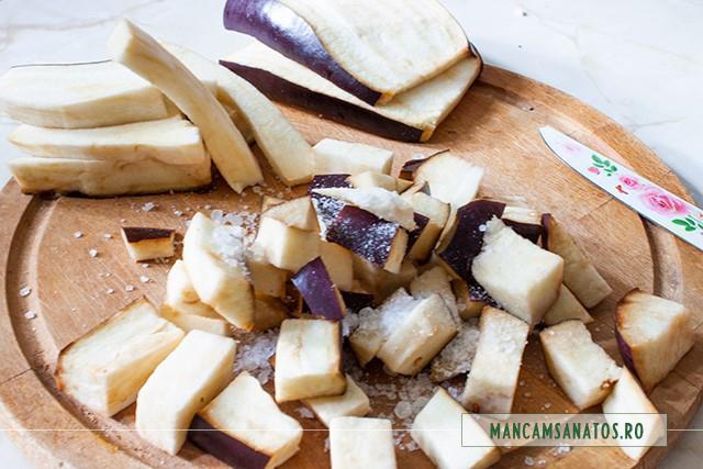vinete la sare, pentru vinete si fasole verde picante, la cuptor