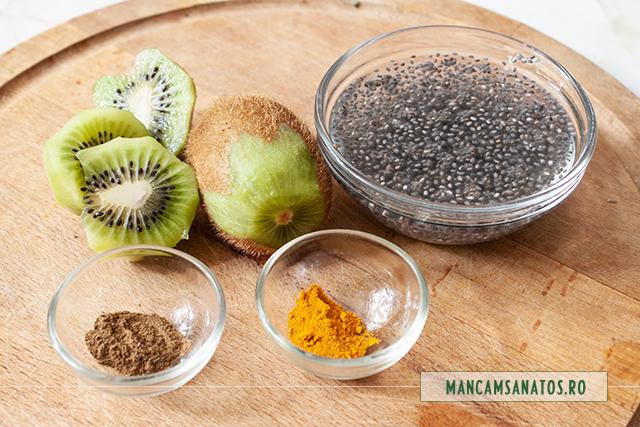 ingrediente pentru smoothie antioxidant, cu kiwi, chia si busuioc