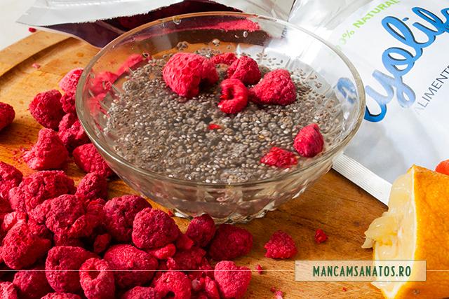 ingrediente penru umplutura tarta raw vegana, cu zmeura liofilizata