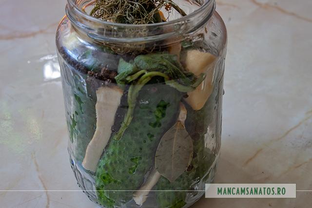 ingrediente pentru castraveti in saramura, cu salvie, marar si condimente